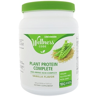 Life Extension, Wellness Code, Plant Protein Complete and Amino Acid Complex, Vanilla Flavor, 15.87 oz (450 g)
