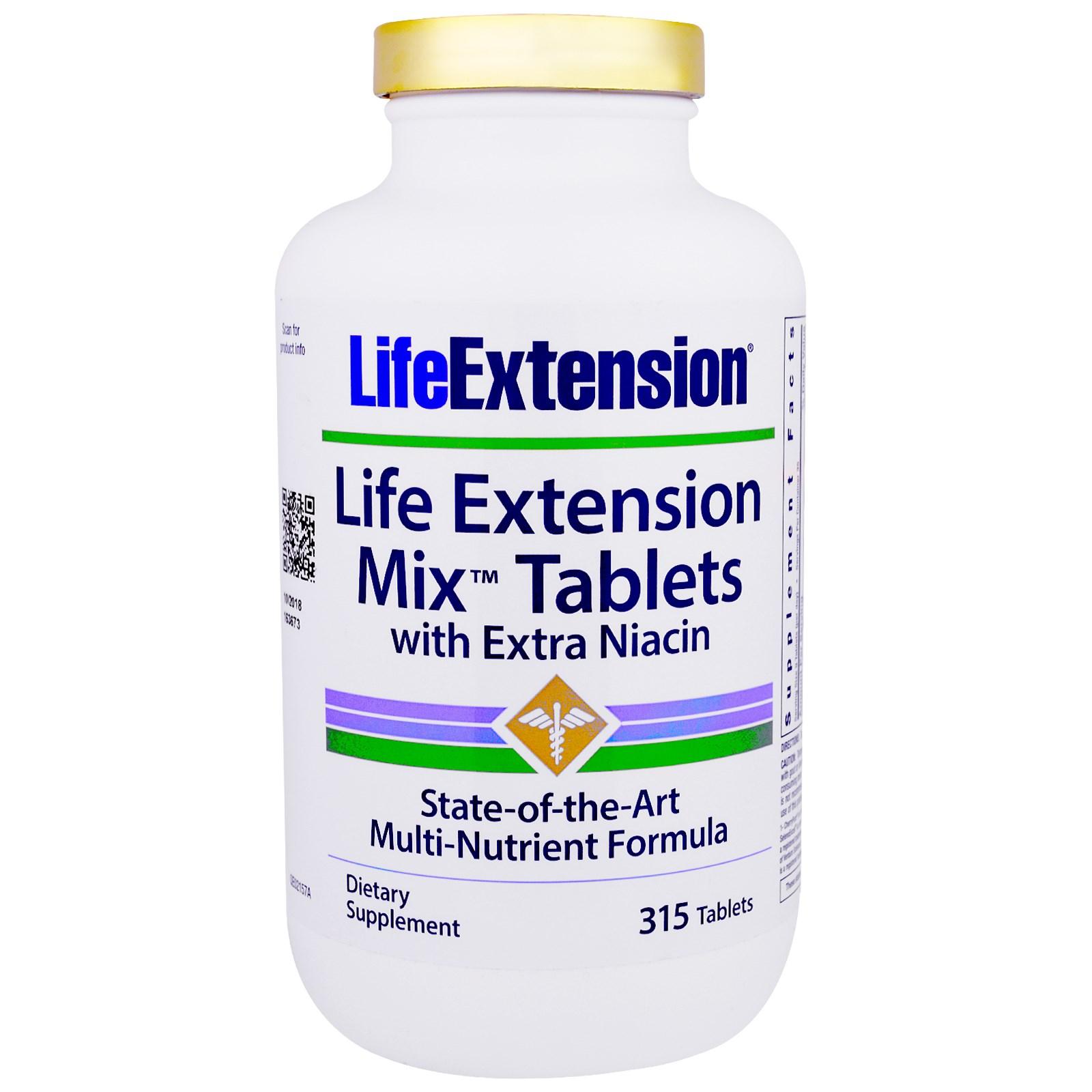 Life Extension, Mix Tablets Смешайте таблетки с Дополнительным Ниацином, 315 таблеток