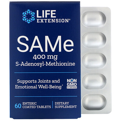 Купить Life Extension SAMe, S-аденозил-метионин, 400мг, 60таблеток, покрытых кишечнорастворимой оболочкой