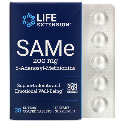 Life Extension SAMe, S-аденозил-метионин, 200мг, 30таблеток, покрытых кишечнорастворимой оболочкой