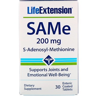 Life Extension, SAMe, 200 mg, 30 Tabletas con revestimiento entérico
