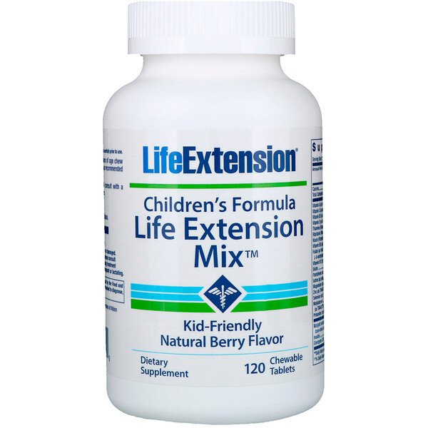 Life Extension, Children's Formula, Life Extension Mix, Natural Berry Flavor, 120 Chewable Tablets