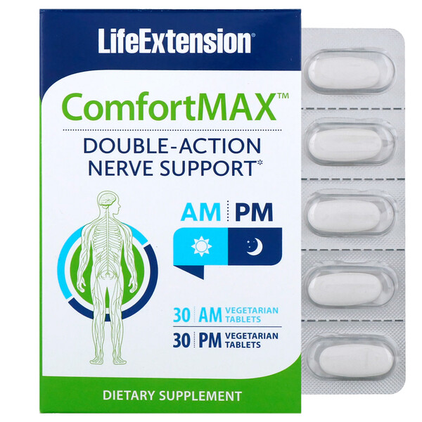 ComfortMAX, Double-Action Nerve Support, For AM & PM, 30 Vegetarian Tablets Each