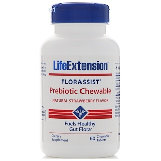 Life Extension, Florassist, Prebiotic Chewable, Natural Strawberry Flavor, 60 Chewable Tablets