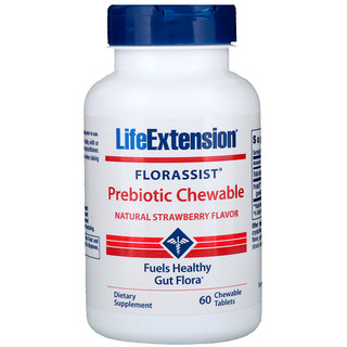 Life Extension, Florassist Prebiotic Chewable, Natural Strawberry Flavor, 60 Chewable Tablets