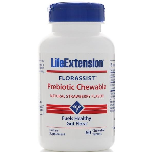 Life Extension, Florassist, Prébiotiques à mâcher, Goût naturel de fraise, 60 comprimés à mâcher