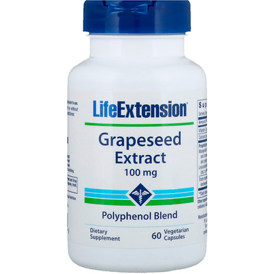 Купить Life Extension Grapeseed Extract, 100 mg, 60 Vegetarian Capsules