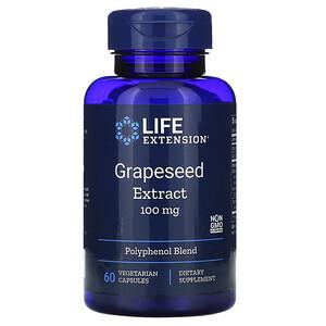 Лайф Экстэншн, Grapeseed Extract, 100 mg, 60 Vegetarian Capsules отзывы
