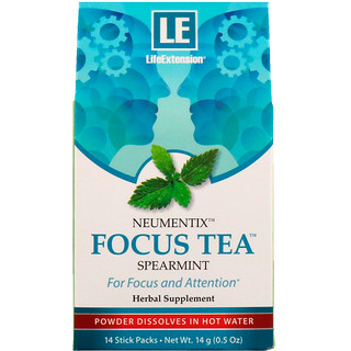 Life Extension, Neumentix, Focus Tea, Spearmint, 14 Stick Packs