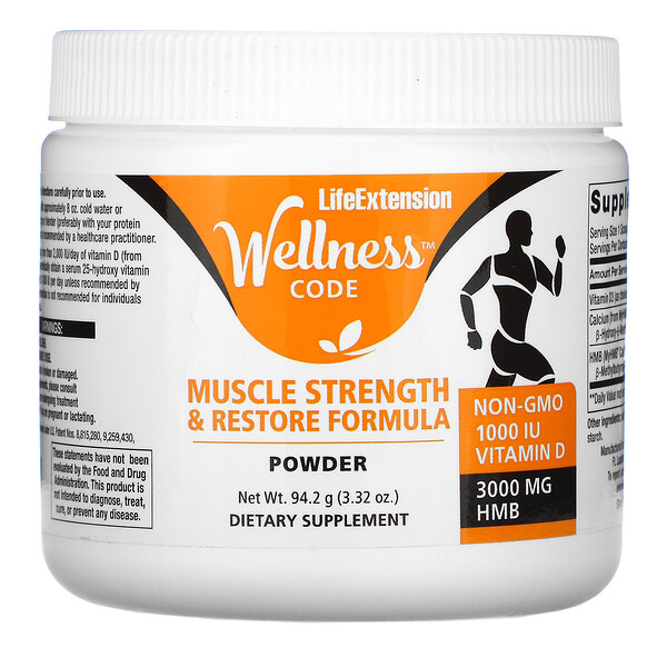 Life Extension, Wellness Code, Muscle Strength & Restore Formula Powder, 3.32 oz (94.2 g) (Discontinued Item)