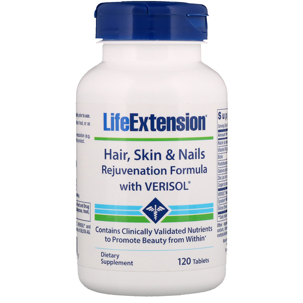 Life Extension, Hair, Skin & Nails Rejuvenation Formula with VERISOL, 120 Tablets (Discontinued Item)