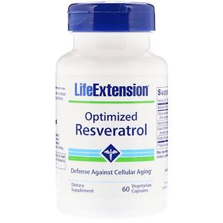 Life Extension, Resvératrol optimisé, 60 gélules végétariennes.