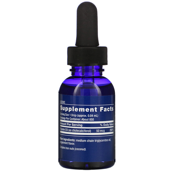 Liquid Vitamin D3, Mint Flavor, 2,000 IU, 1 fl oz (29.57 ml)