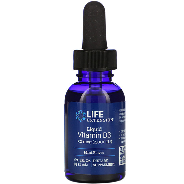 Life Extension, Liquid Vitamin D3, Mint Flavor, 2,000 IU, 1 fl oz (29.57 ml)