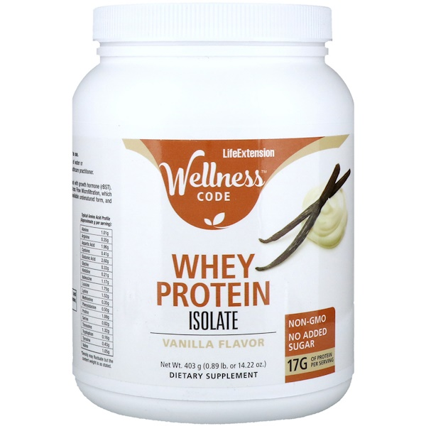 Wellness Code, Whey Protein Isolate, Vanilla Flavor, 0.89 lb (403 g)