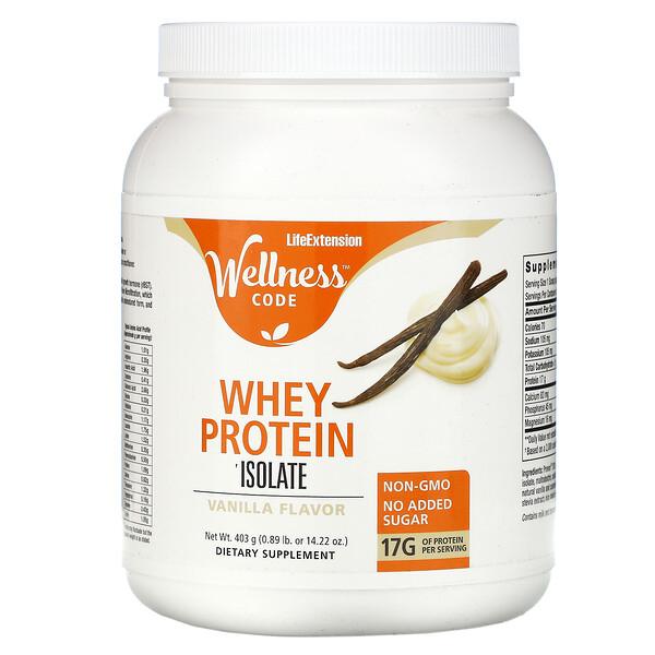 Wellness Code, Whey Protein Isolate, Vanilla , 0.89 lb (403 g)