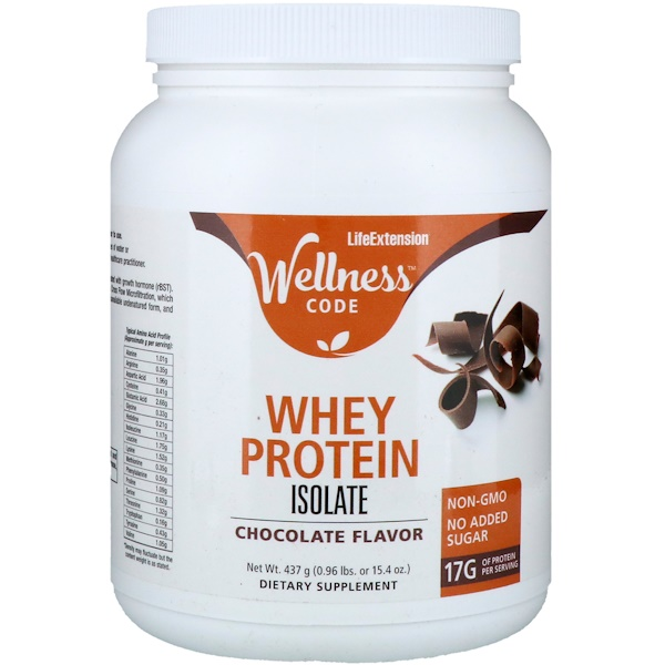 Life Extension, Wellness Code, Whey Protein Isolate, Chocolate Flavor, 0.96 lb (437 g) (Discontinued Item)