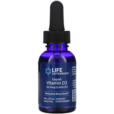 Купить Life Extension Жидкий витамин D3, 2000МЕ, 29, 57мл