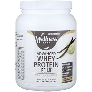 Life Extension, Wellness Code, Advanced Whey Protein Isolate, Vanilla Flavor, 1 lb (454 g)