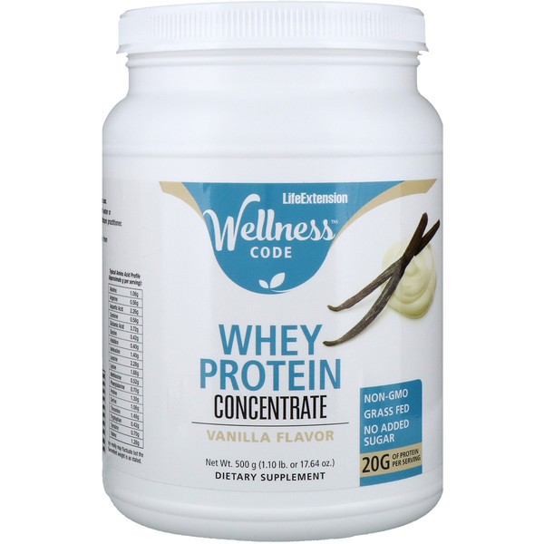 Life Extension, Wellness Code, Whey Protein Concentrate, Vanilla Flavor, 1.1 lbs (500 g)