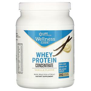 Лайф Экстэншн, Wellness Code, Whey Protein Concentrate, Vanilla Flavor, 1.10 lb (500 g) отзывы
