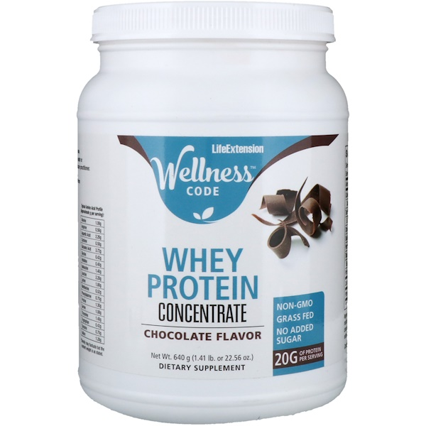 Life Extension, Wellness Code, Whey Protein Concentrate, Chocolate Flavor, 1.41 lb (640 g) (Discontinued Item)
