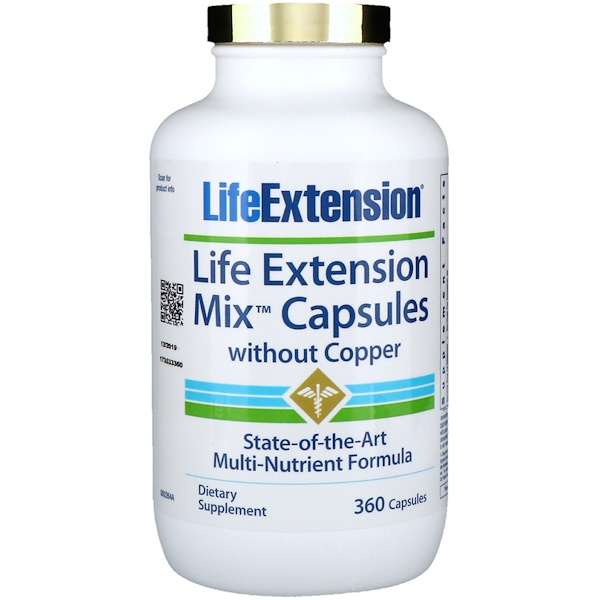 Life Extension, Life Extension Mix膠囊,不含銅,360粒膠囊