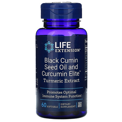 Купить Life Extension Black Cumin Seed Oil and Curcumin Elite Turmeric Extract, 60 Softgels
