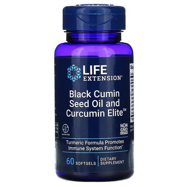 زيت بذور الكمون الأسود و Curcumin Elite , 60 كبسولة هلامية