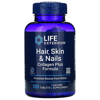 Life Extension, 头发、皮肤和指甲,含胶原蛋白配方,120 片