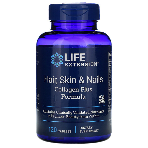 Life Extension, Hair, Skin & Nails, Collagen Plus Formula, 120 Tablets