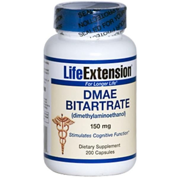 Life Extension, DMAE Bitartrate (Dimethylaminoethanol), 150 mg, 200 Capsules (Discontinued Item)