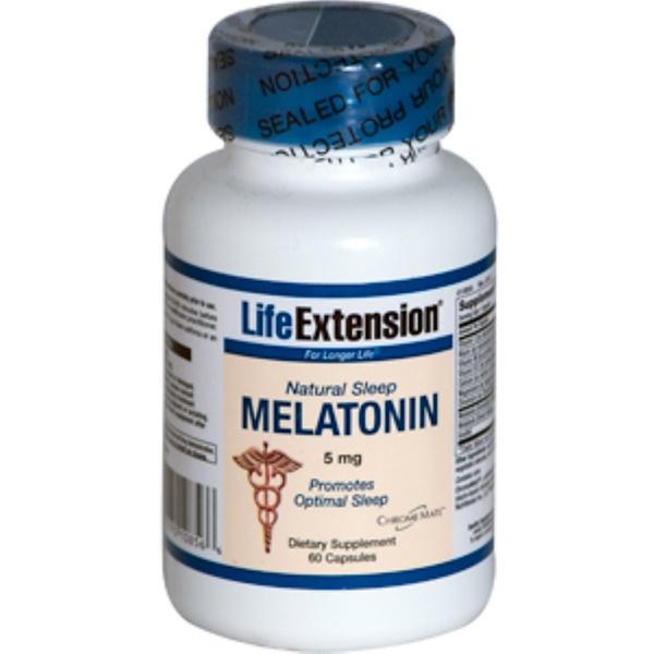 Life Extension, Natural Sleep Melatonin, 5 mg, 60 Capsules (Discontinued Item)