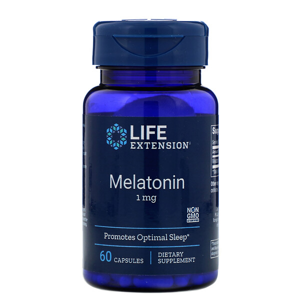 Life Extension, Melatonina, 1 mg, 60 cápsulas