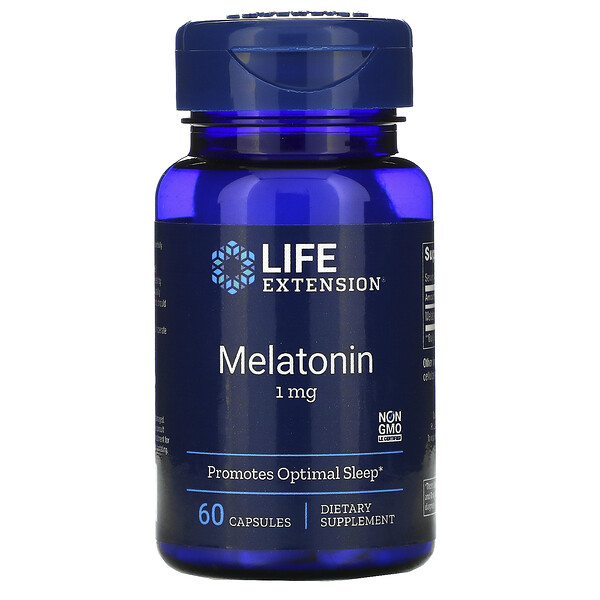Life Extension, Melatonin, 1 mg, 60 Kapseln