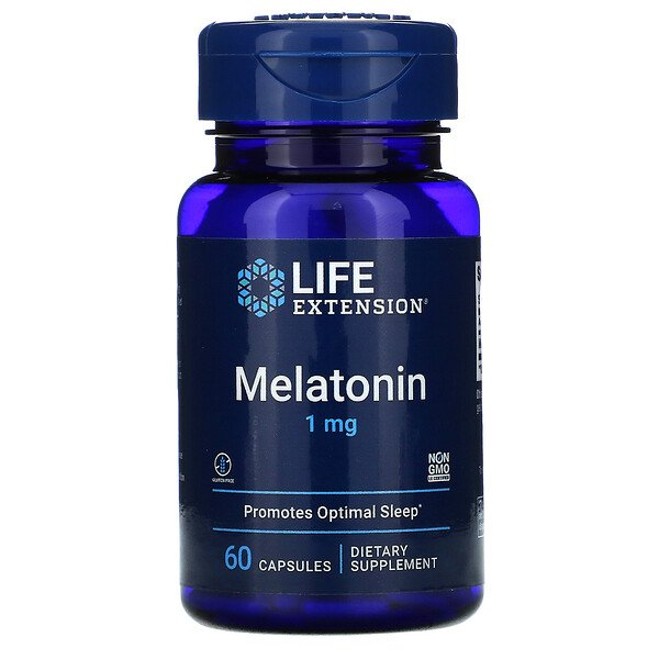Melatonin, 1 mg, 60 Capsules