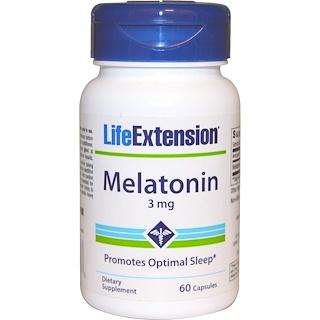 Life Extension, 寿命延長, メラトニン, 3 mg, 60カプセル