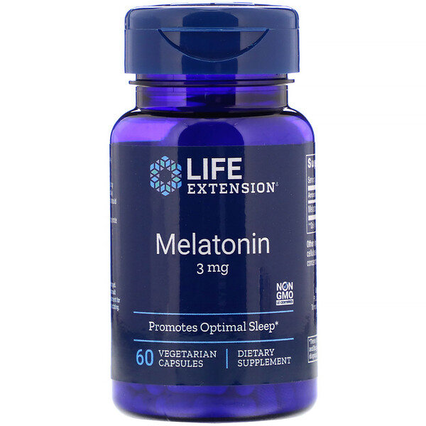 Life Extension, Melatonina 3 mg, 60 cápsulas