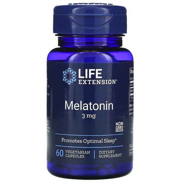 Life Extension, メラトニン、3 mg、植物性カプセル 60粒