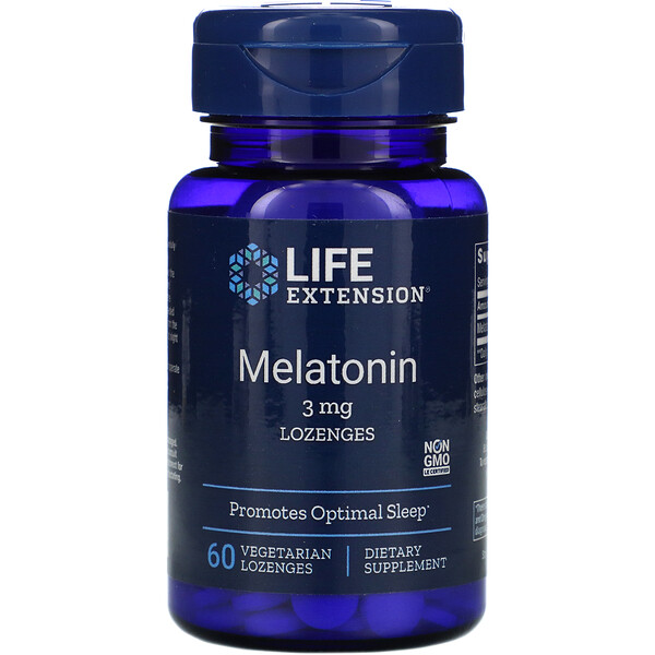 Melatonin, 3 mg, 60 Vegetarian Lozenges