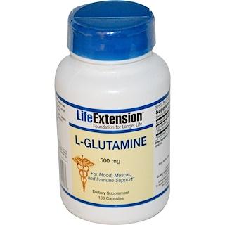 Life Extension, L-Glutamine, 500 mg, 100 Capsules