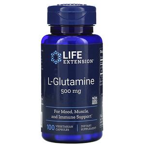 Лайф Экстэншн, L-Glutamine, 500 mg, 100 Vegetarian Capsules отзывы покупателей