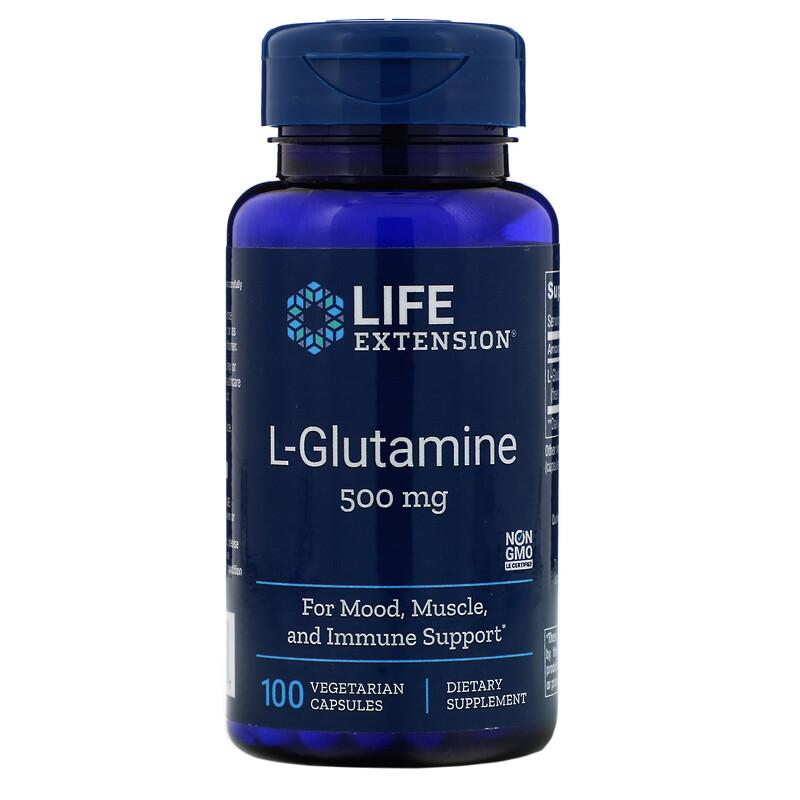 L-Glutamine, 500 mg, 100 Vegetarian Capsules