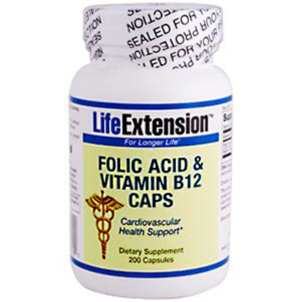 Life Extension, Folic Acid & Vitamin B12 Caps, 200 Capsules (Discontinued Item)