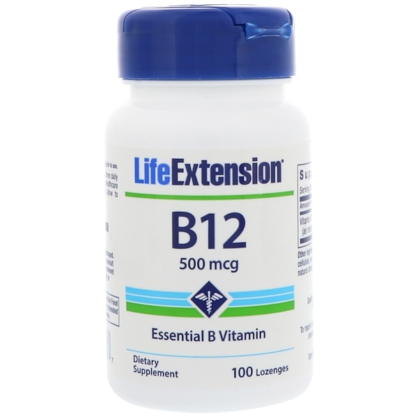 Life Extension, B-12, 500 mcg, 100 Lozenges