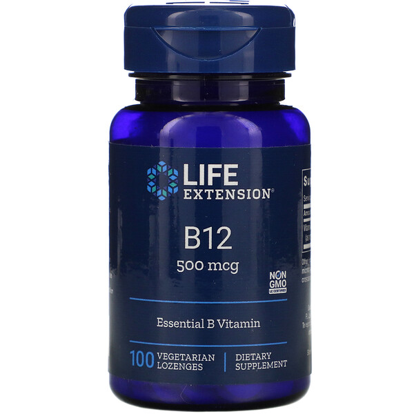 Life Extension, B12, 500 mcg, 100 Vegetable Lozenges