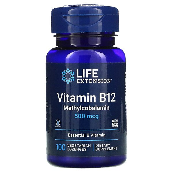 Life Extension, Vitamin B12, Methylcobalamin, 500 mcg, 100 Vegetarian Lozenges