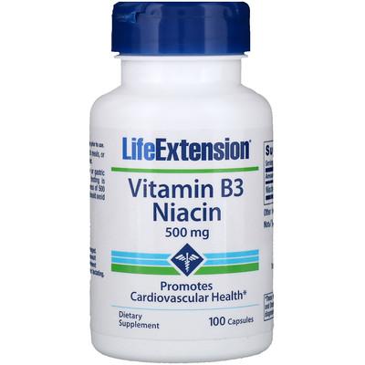 Купить Витамин В3, ниацин, 500 мг, 100 капсул