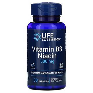 Life Extension, Vitamin B3 Niacin, 500 mg, 100 Capsules