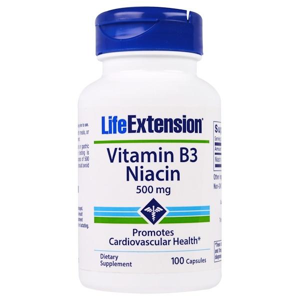 Life Extension, ビタミンB3ナイアシン、500 mg、100カプセル